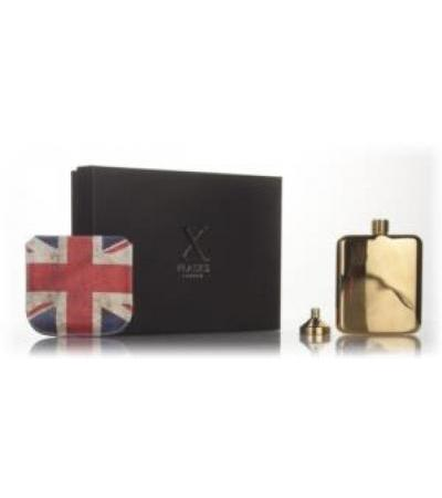 X Flasks - Gold Flask with Union Jack Pouch