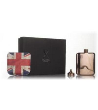 X Flasks - Rose Gold Flask with Union Jack Pouch