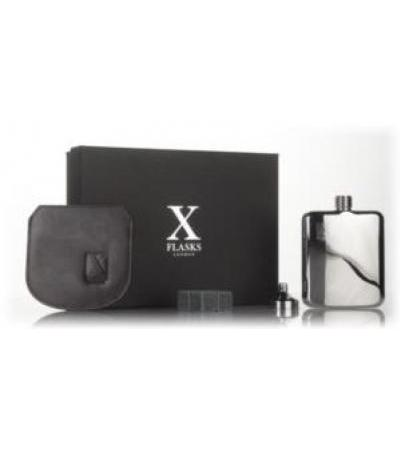 X Flasks - Silver Flask with Brown Leather Pouch