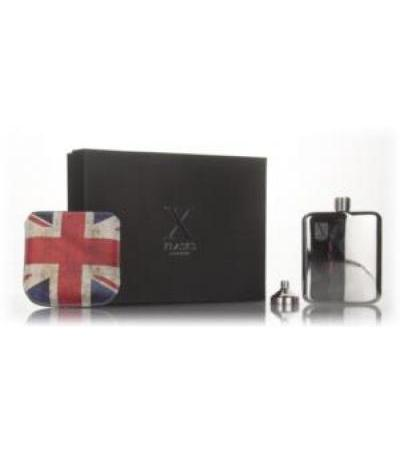 X Flasks - Silver Flask with Union Jack Pouch